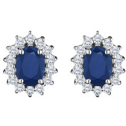 0.55cts Diamond and 2.28cts Blue Sapphire Cluster Earrings