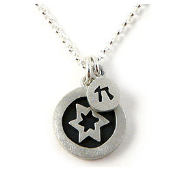 Contemporary Judaic Star and Chai Necklace