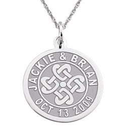 Sterling Silver Couple's Celtic Engraved Disc Pendant