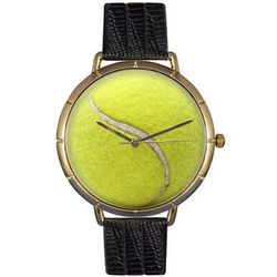 Tennis Print Watch with Italian Leather Band