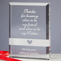 Parent's Thanks for Knowing Personalized Plaque