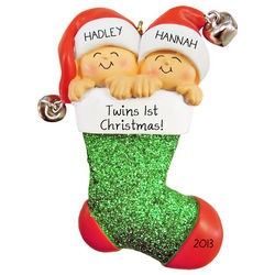 Personalized Twins First Christmas Ornament