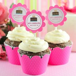 Teen Party Personalized Cupcake Wrappers and Toppers