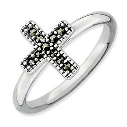 Sterling Silver Marcasite Cross Stack Ring
