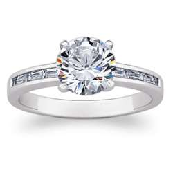 Brilliant Cubic Zirconia and Baguette Engagement Ring
