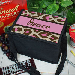 Personalized Pink Leopard Print Lunch Cooler