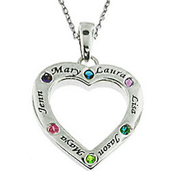 Personalized Family Heart Pendant with CZ Birthstones