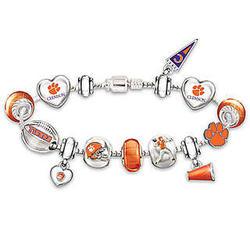 Clemson University Tigers Charm Bracelet