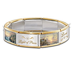 "Thomas Kinkade ""Hope Lights The Way"" Italian Charm Bracelet"