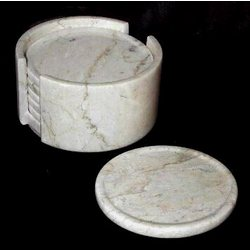 Beige Marble Coaster Set with Holder