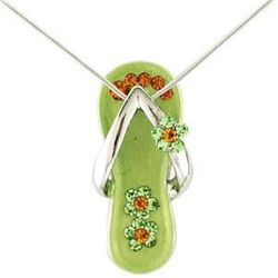 Peridot Green Flower Strap Flip Flop Necklace in Silver