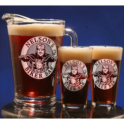 Personalized Biker Design Two Pint Glass and Pitcher Set