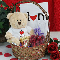 I Love You Teddy Bear Gift Basket