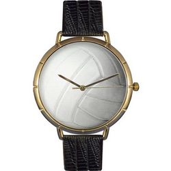 Volleyball Print Watch with Italian Leather Band