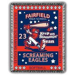 Slammin Personalized Softball Afghan