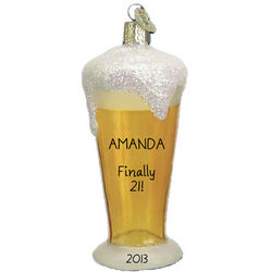 21st Birthday Beer Glass Ornament