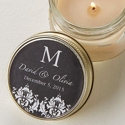Damask Monogram Candle Tin Favors