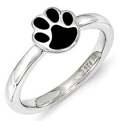 Black Enamel Paw Print Stack Ring in Sterling Silver