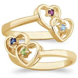 Couple's Birthstone Twin Heart Ring