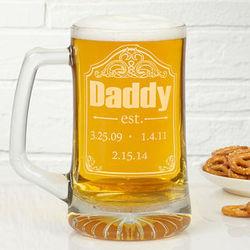 Date Established Personalized Deep Etch Beer Mug