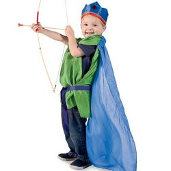 Kids Silk Robin Hood Cape with Chain-Mail Tunic Costume