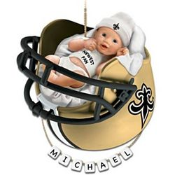 Personalized Saints Fan Baby's First Christmas Ornament