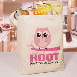 Give a Hoot Breast Cancer Awareness Tote Bag