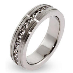 Unisex Stainless Steel CZ Eternity Band