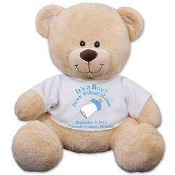 "11"" Personalized New Baby Boy Teddy Bear"
