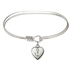 Rhodium-Plated Bangle with Dove Heart Charm