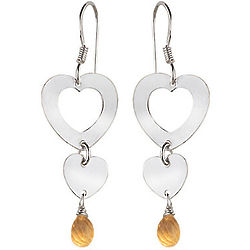 Citrine Duet Heart Drop Earrings in Sterling Silver