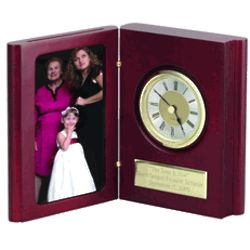 Book of Time Mahogany Finish Clock and Photo Frame