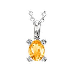 14k White Gold 1 1/4ct Citrine Diamond Necklace