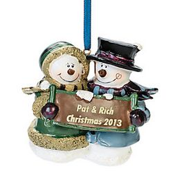 Resin Snow Couple First Christmas