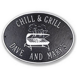 Chill & Grill Personalized Metal Deck Plaque