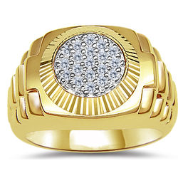 0.25cts Diamond Men's Rolex Ring in 14k Yellow Gold