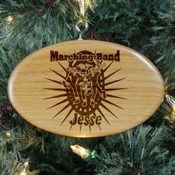 Engraved Marching Band Wooden Oval Ornament