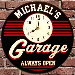 Always Open Garage Personalized Clock