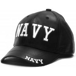 Navy Letters Leather Cap