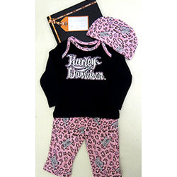 Harley-Davidson Pink Newborn Top, Pants and Hat