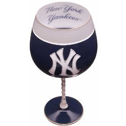 New York Yankees Handpainted Wine Glass