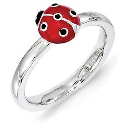 Sterling Silver and Red Enamel Ladybug Stackable Ring