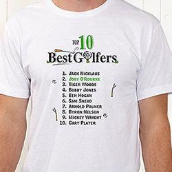 Personalized Top Ten Golfers Custom T-Shirt