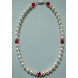 White Pearls and Red Crystal Bead Pet Collar