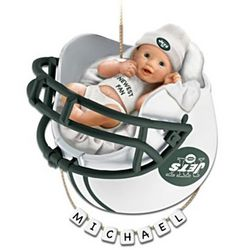 Personalized Jets Fan Baby's First Christmas Ornament