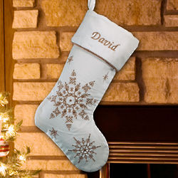 Embroidered Gold Snowflakes Velvet Christmas Stocking