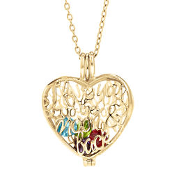 Moon and Back Gold-Plated Heart Birthstone Locket
