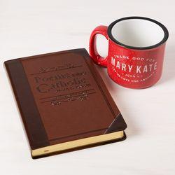 Personalized Valentine's Coffee Mug and Catholic Poems Book