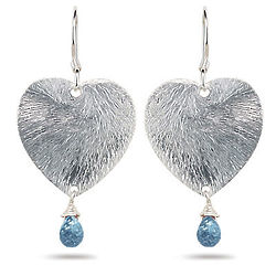 Swiss Blue Topaz Heart Earrings in Sterling Silver