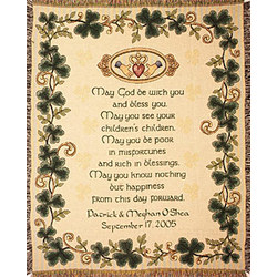 Personalized Irish Wedding Blessing Cotton Throw